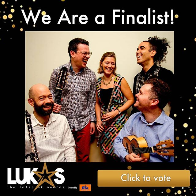 ENDS TONIGHT! Last chance to vote for us in the Lukas Awards, where we are in the final round of nominees for Brazilian Act of the Year. . Awards like this can be really helpful to groups like us, especially when applying for funding, gigs, media and so on. We'd really appreciate your support in taking a minute to vote for us. Thanks so much! . Go here to vote:  www.thelukas.co.uk . @thelukasawards #vote #finalist #lastchance #closestonight #choro #alvorada #bestband #brazilianmusic #award #support #vote #votenow #brazilianact #thankyou #fingerscrossed