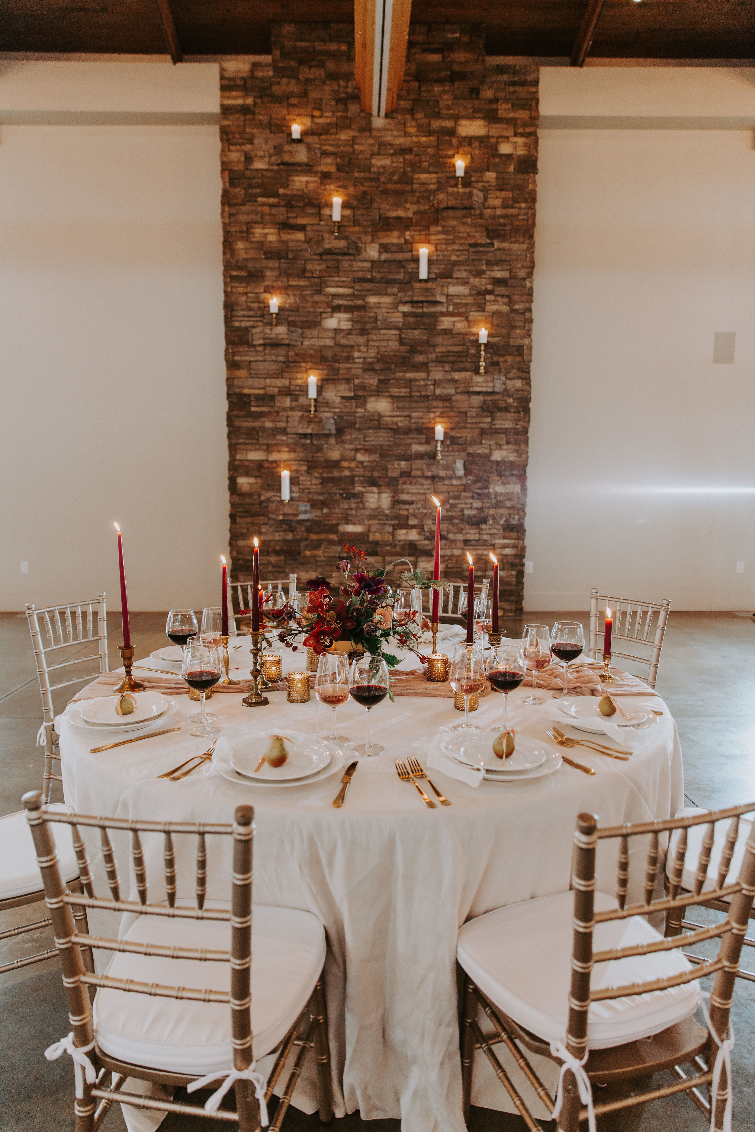 Candles on Stone Wall
