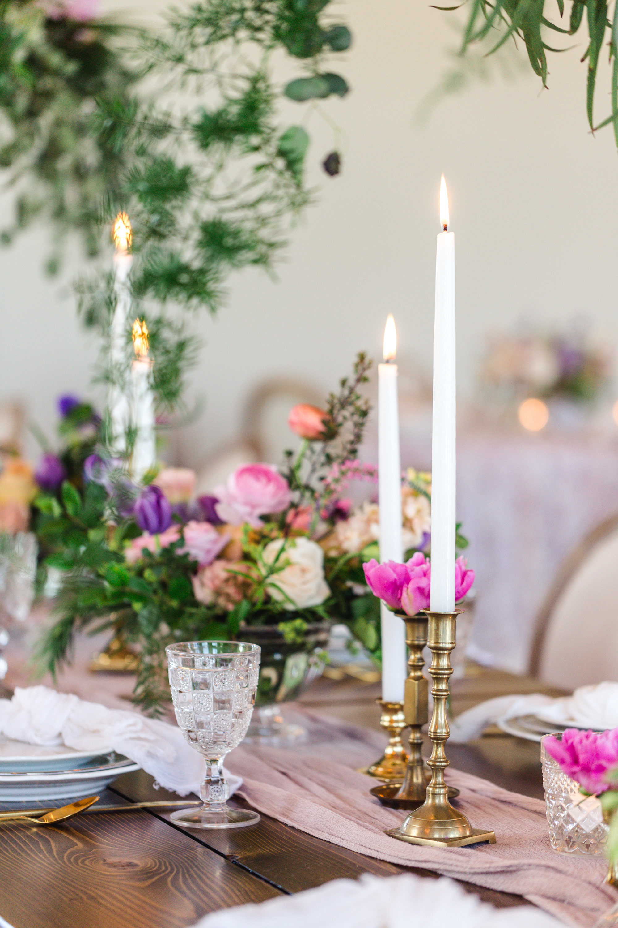 Brass Candle Holders + Dripless Tapers