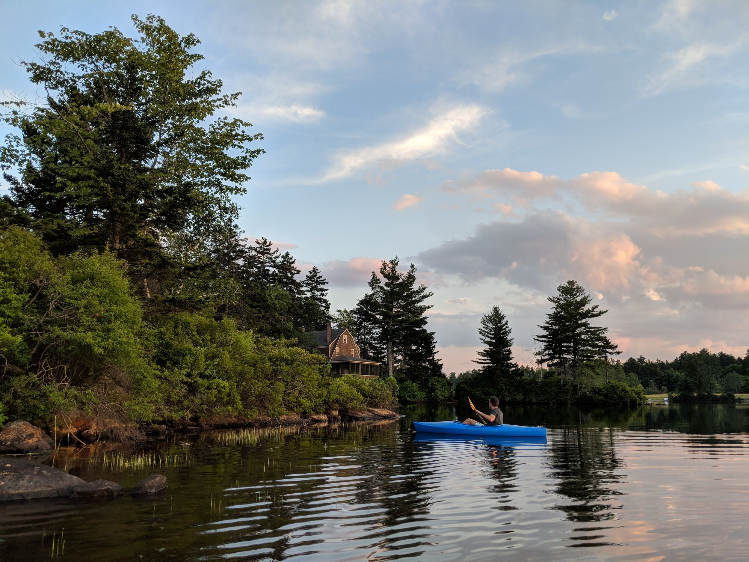 Kayaking with Fernando on Millen Lake, in Washington, New Hampshire, where we live for part of each summer
