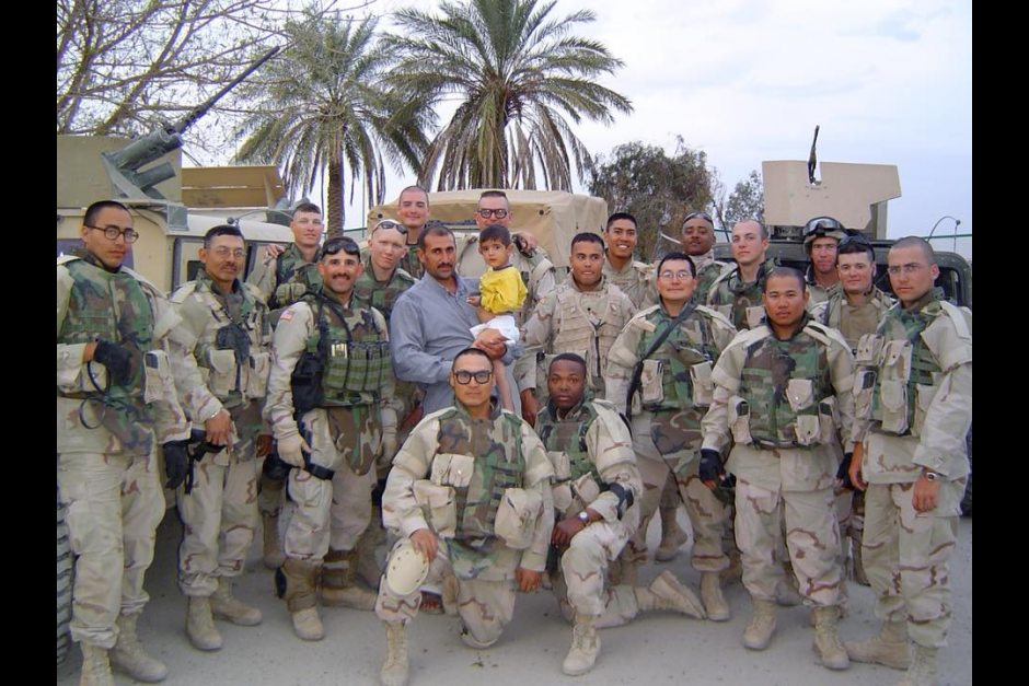 Joseph Murphy's Alaska National Guard unit in Iraq, 2005. Murphy is kneeling