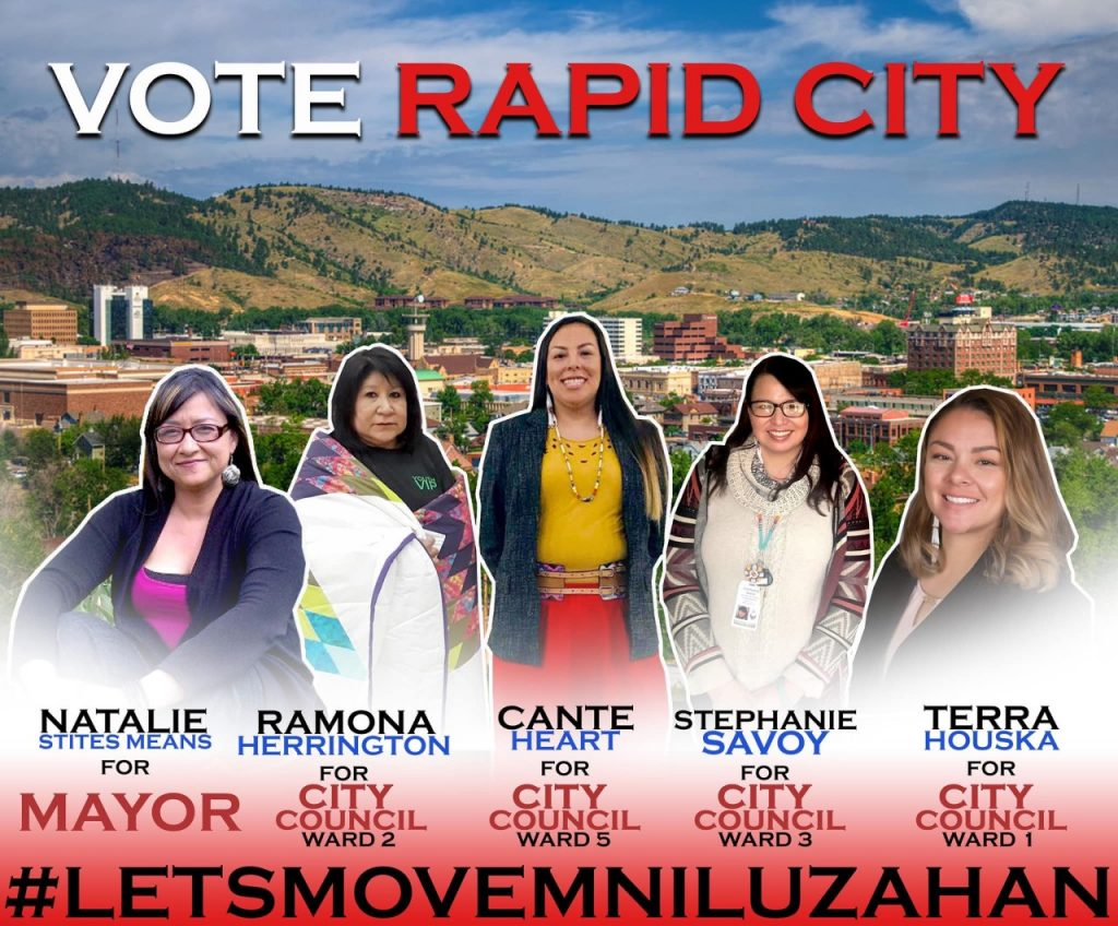 Cutline: Natalie Stites, Ramona Herrington, Cante Heart, Stephanie Savoy, and Terra Houska will challenge for municipal office in Rapid City. They will officially announce their candidacy on March 28, 2019 at 3 PM in front of the City Administration Building. Image by Whitney Rencountre.