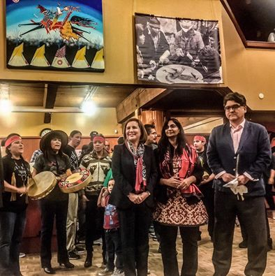 Kshama Sawant (center) with Debora Juarez and Sherman Alexie being honored at Seattle's Indigenous Peoples' Day celebration. Photo by RedWolf Pope