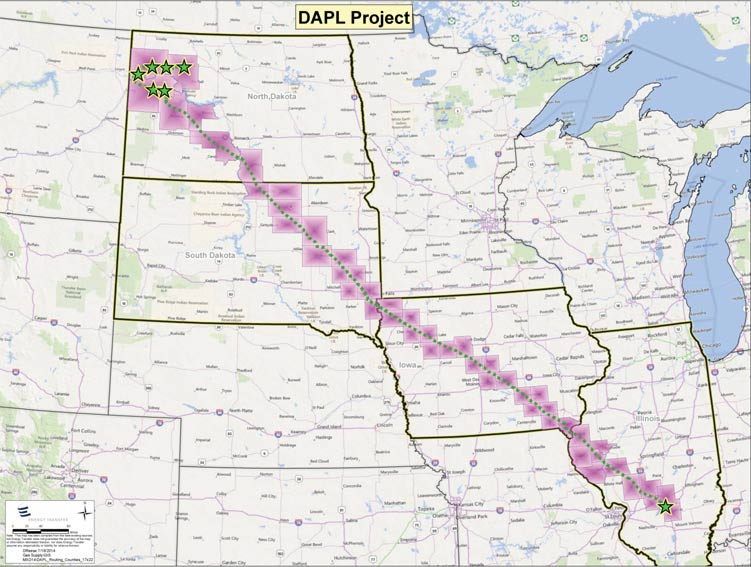 Proposed route of the Dakota Access pipeline.