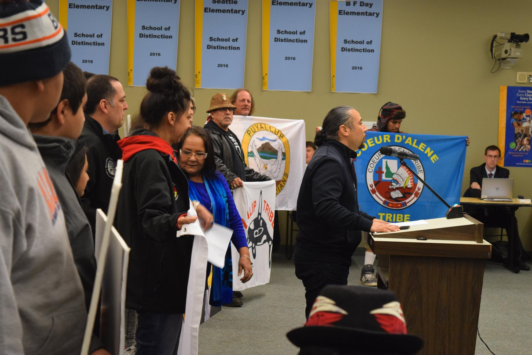UNEA supporters speak out at Seattle public school board meeting in support on Native education