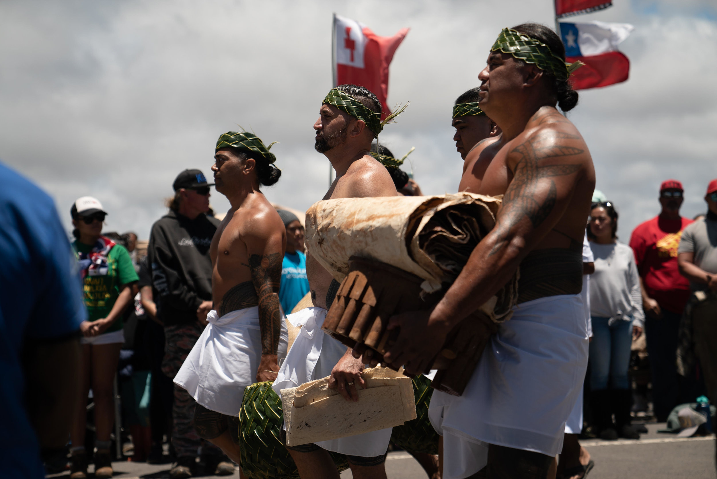 Arrival of the Tongan delegation to formally make offerings to the Kupuna line.