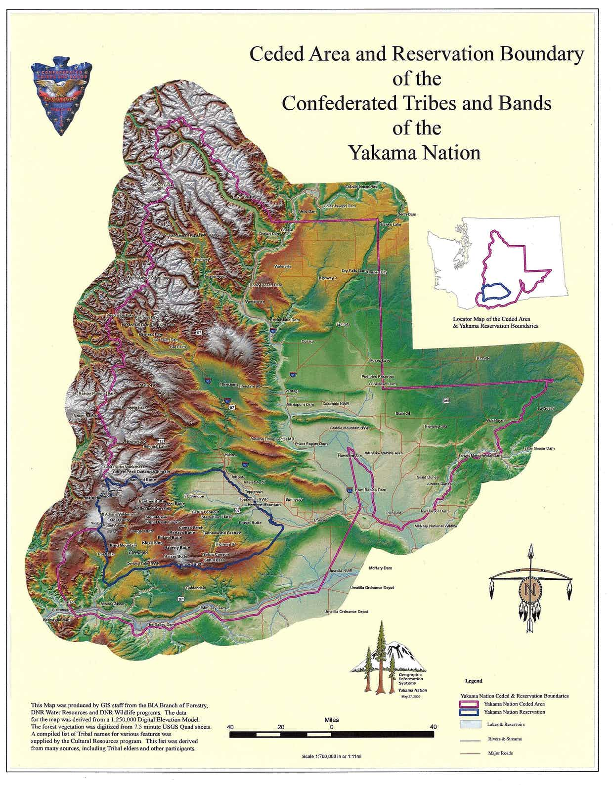 Pictured: Map of the Ceded Area and Reservation Boundary of the The Confederated Tribes and Bands of the Yakama Nation. (Image: The Confederated Tribes and Bands of the Yakama Nation)