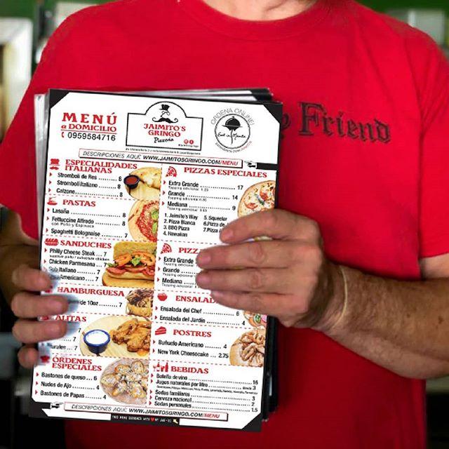 En @jaimitosgringo buscamos las mejores alternativas para mantenerte con la barriga llena y el corazón ❤contento.  Ahora tenemos nuestro nuevo #menudelivery hecho por @jagbrandingec para que lleves a casa 🏠o a la oficina nuestras especialidades italianas🍕, alitas, hamburguesas🍔, ensaladas🍜, postres 🍧y también nuestras bebidas🍵. . . Ustedes son nuestra prioridad. Llámanos al 📱095-958-4716  también puedes ordenar online 🖱 en www.eatinmanta.com/domicilio. . . Here at @jaimitosgringo we make it easy for you to keep a full belly and a happy heart❤. Our new #deliverymenus will be sent with our driver so that you can keep it in your home🏠 or office for whenever you are hungry for Jaimito's! . . Order online or call, whichever is easiest for you and take home our Italian specialties, the best pizza in Manta🍕, wings, hamburgers🍔, salads🍜, desserts 🍧 and also our drinks🍵. . You are our priority. Call us at 095-958-4716 you can also order online after 5pm, 7 days a week at: 👉 eatinmanta.com/domicilio . . #menu #delivery #mozzarella #pizzaparami #pizzalover #menuespecial #eatinmanta #food #masparami #hamburguesa #postre #tiojaimito #ensalada #bebidas #comidaitaliana #restaurant #restaurantenmanta #delicious #eat #pizzeria #clientela #cliente #mantaestodo #mantameencanta #manabi #jaimitosgringo