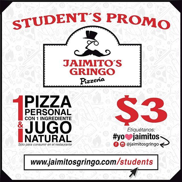 Un estudiante bien comido obtiene mejores calificaciones📚 y en @jaimitosgringo lo sabemos🤗, por eso al realizar #delivery a tu escuela o colegio🏫 te premiaremos con el #jaimitosdolar💲 para todos tus amigos👫👬. . . Con el #jaimitosdolar💲 podrás disfrutar de una pizza personal de un ingrediente y un jugo natural por tan solo $3,oo. . . Reglas:☟ ✔Promoción válida sólo para consumir el restaurante. ✔Presentar  #jaimitosdolar. ✔#JaimitosDolar válido por cada compra.