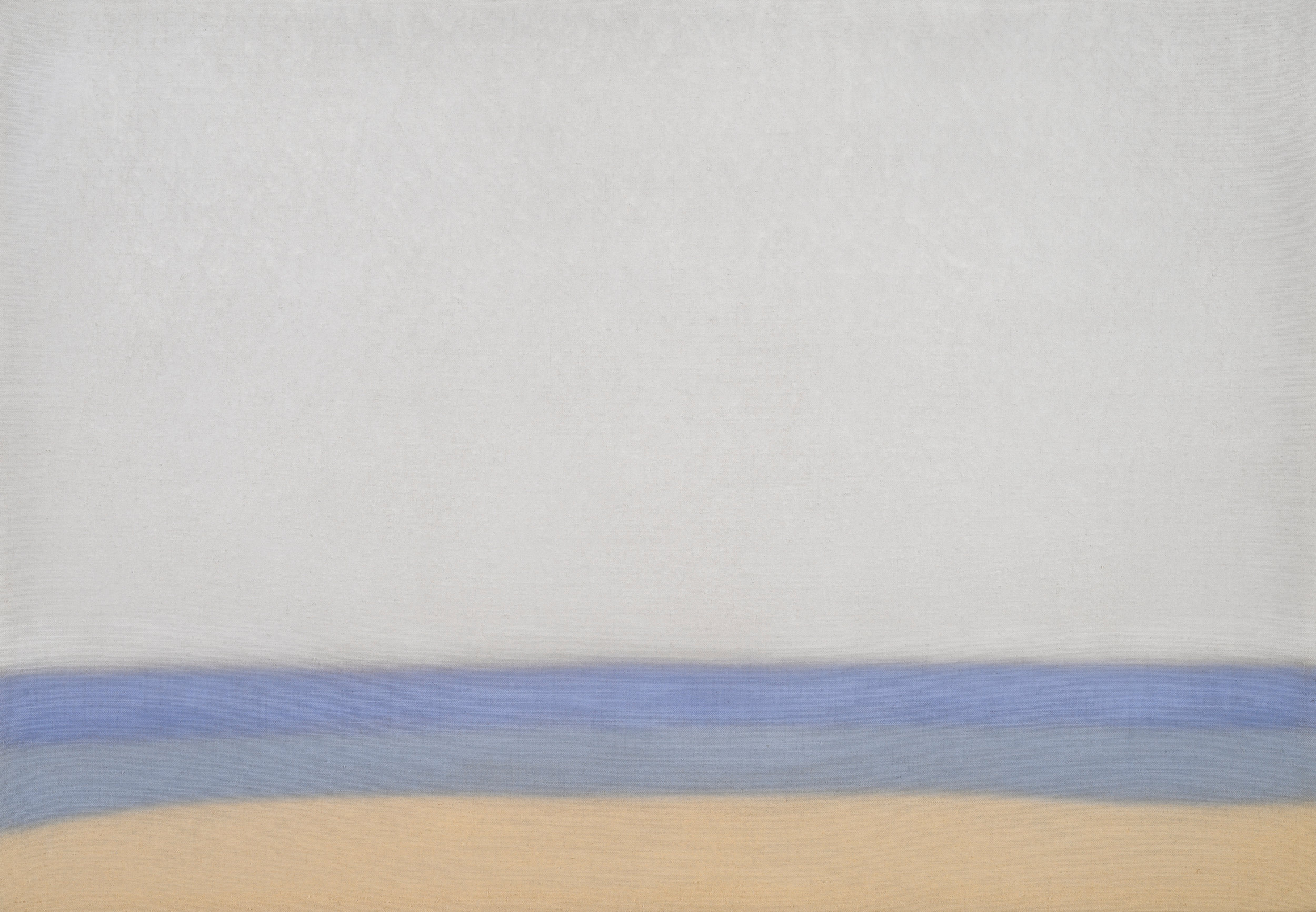 """Susan Vecsey, Untitled (Blue / Gold), 2019. Oil on Linen, 40"""" x 58""""."""