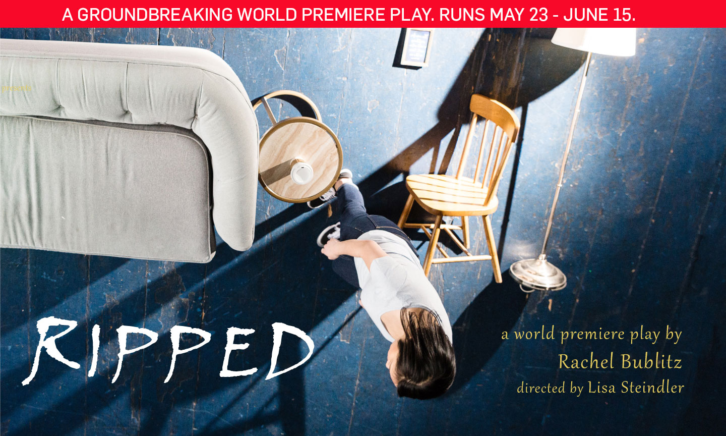 Postcard for RIPPED shows overhead shot of a person with long, dark hair next to a gray sofa , sifde table, overturned wooden dining chair and overturned lamp.