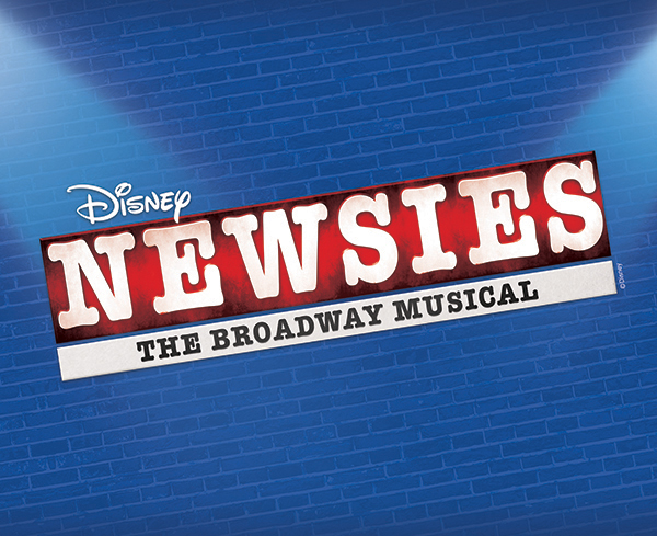 Logo Disney's Logo of Newsies The Broadway Musical on a blue brick background