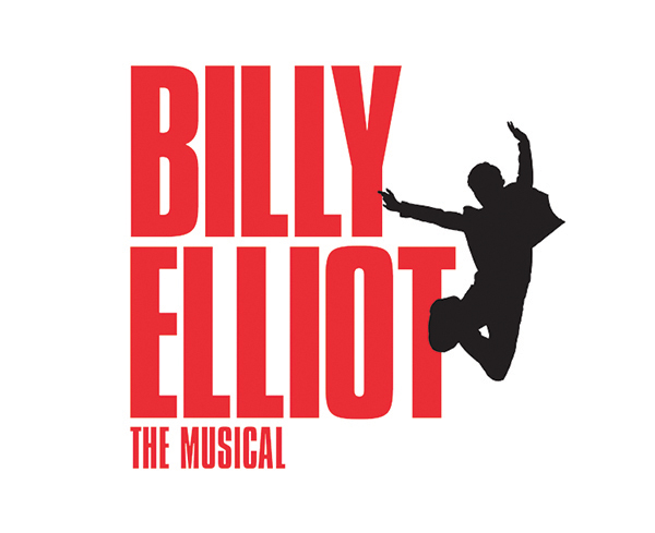 Billy Elliot the Musical in red letters with a silhouette dancer jumping