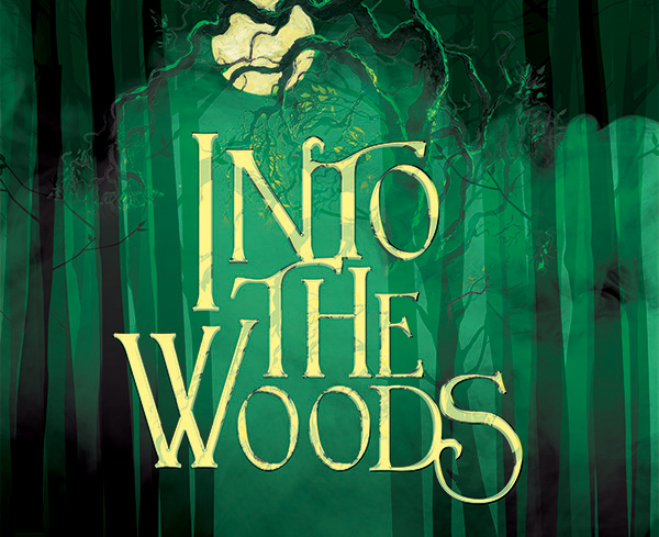 Into the Woods logo in front of a forest with a large moon at the top