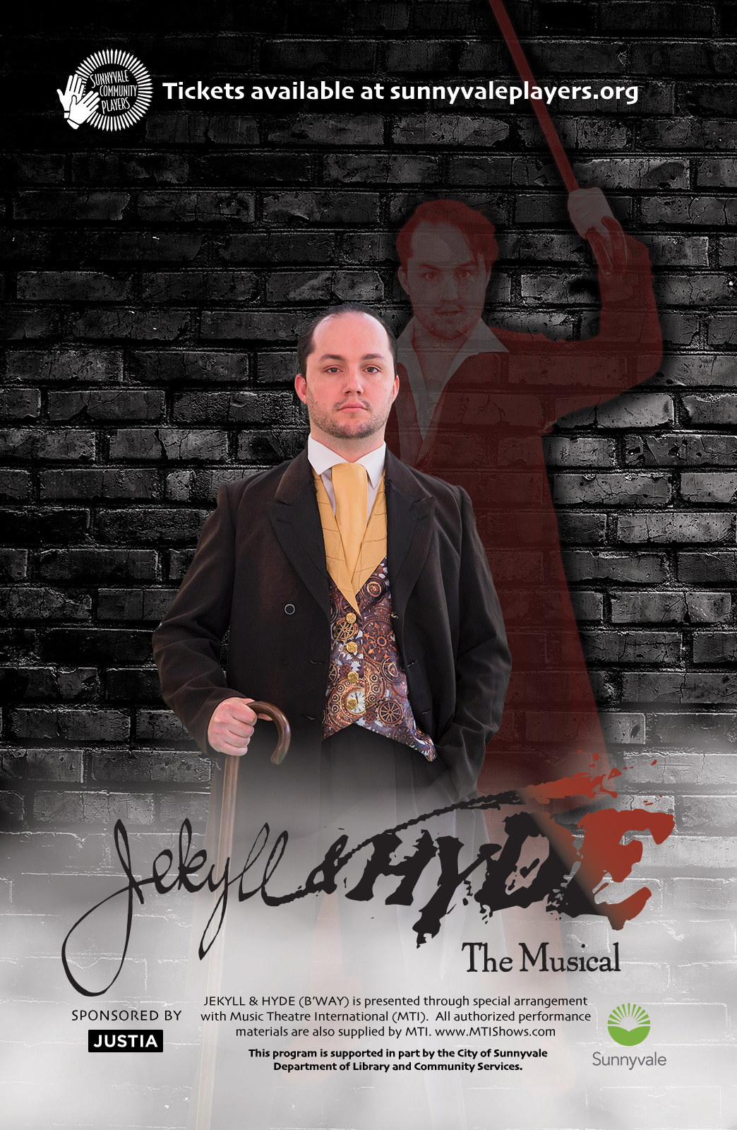 Jekyll, with Hyde in his shadow and the Jekyll & Hyde show logo