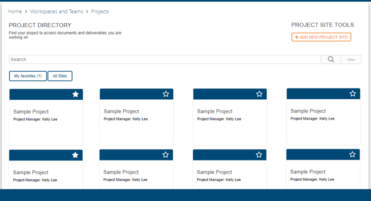 This is an example of a Projects Directory in a SharePoint intranet, where users can search for their project site and access relevant documents.