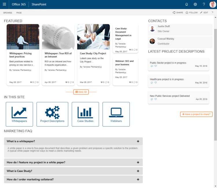 Illustrates how different content is presented on the SharePoint Intranet to draw attention to various sections of this department site helping users find what they're looking for.