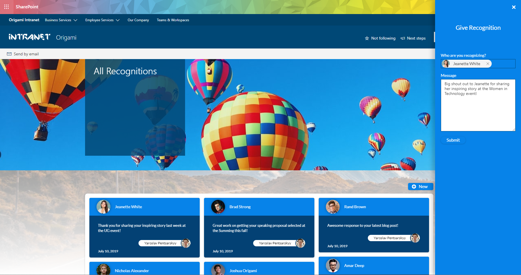 Origami Intranet - Employee Recognition - Modern Intranet - Modern SharePoint.PNG