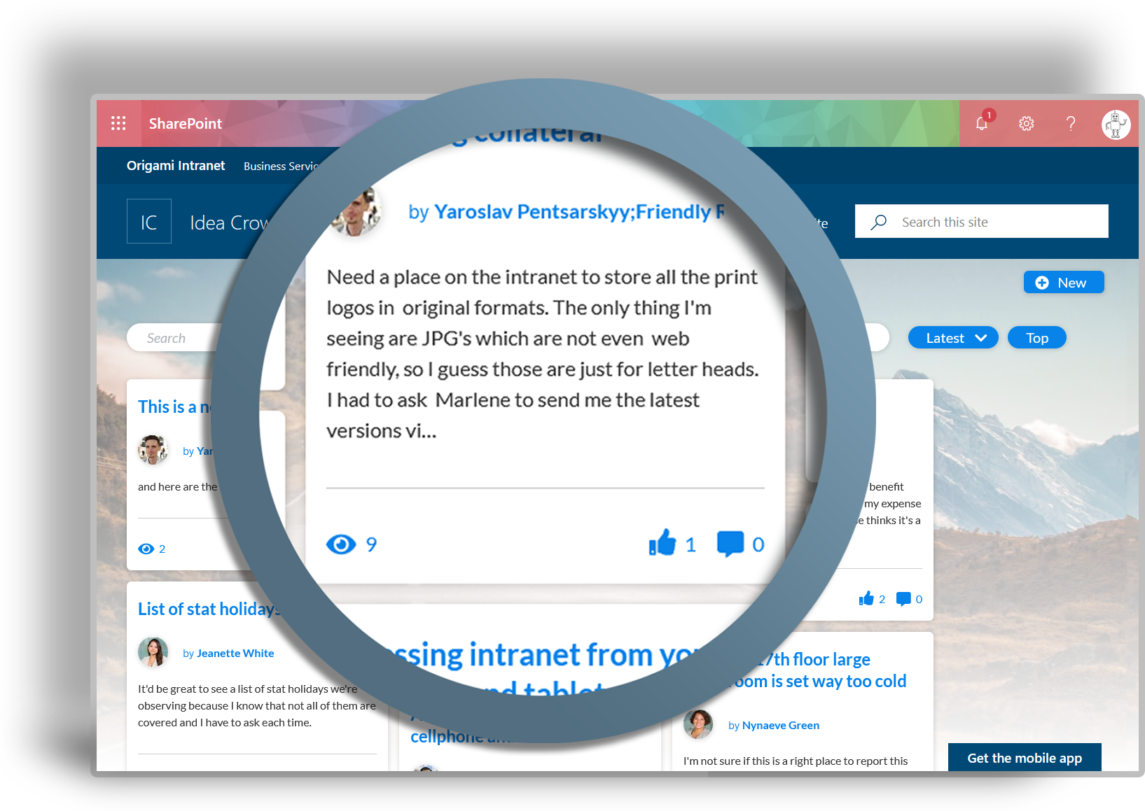 Engage Employees Instantly with an Office 365 Intranet - Origami intranet encourages employee engagement, interaction and collaboration across your workplace.Origami delivers engaging tools, such as:- Employee Bulletin Board- Idea Crowdsourcing- Employee Polls- Fully Responsive Mobile Intranet