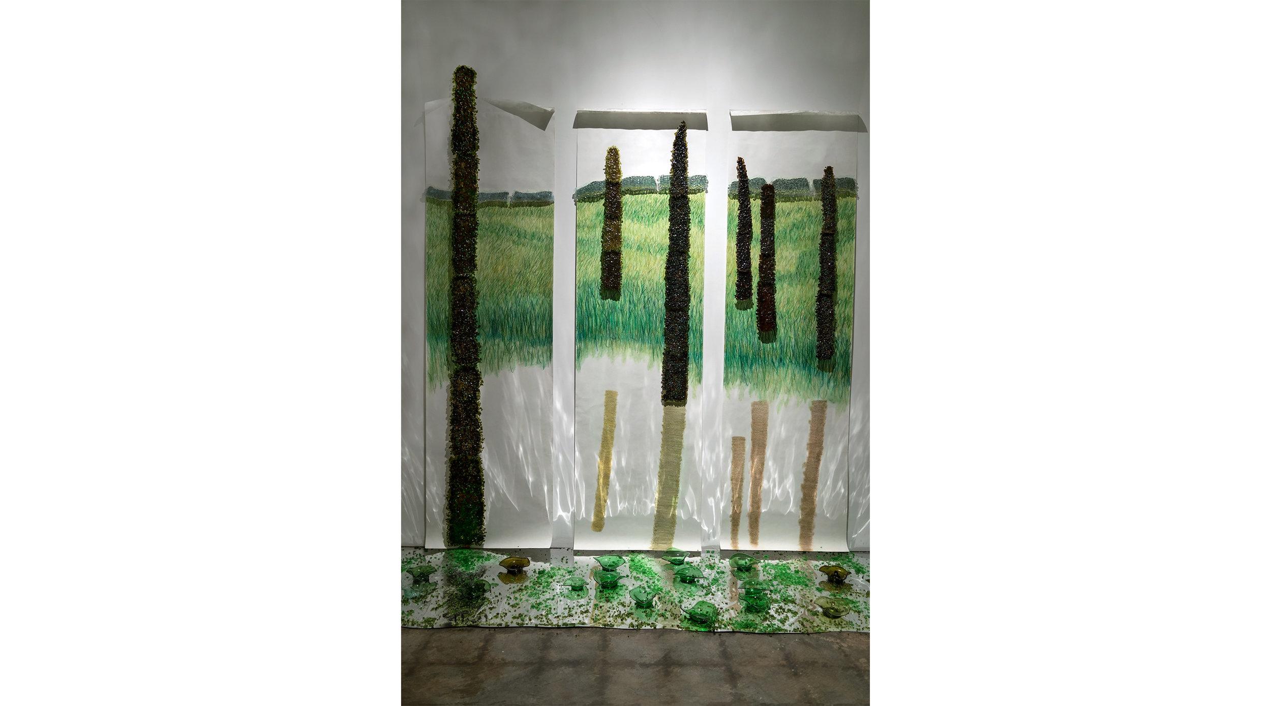 "Marshlands 1  2015  blown, kiln cast, fused, slumped, crushed, bottle glass, wallpaper, conte, wood  96"" x 90"" x 24"""