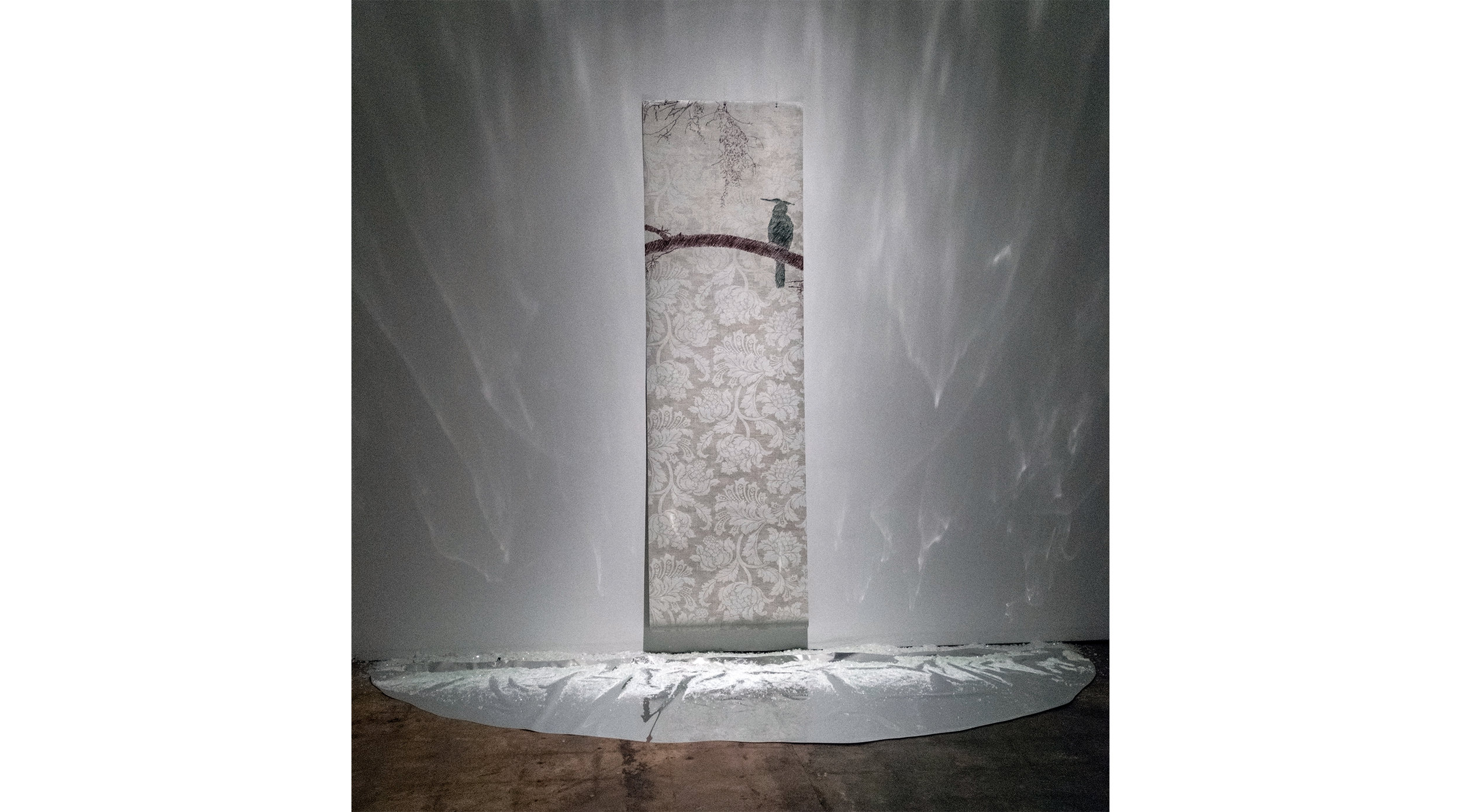 """Ode of the Anhinga  2015  Wall Paper, conte, mylar, crushed bottle glass  96"""" x 96"""" x 24"""""""
