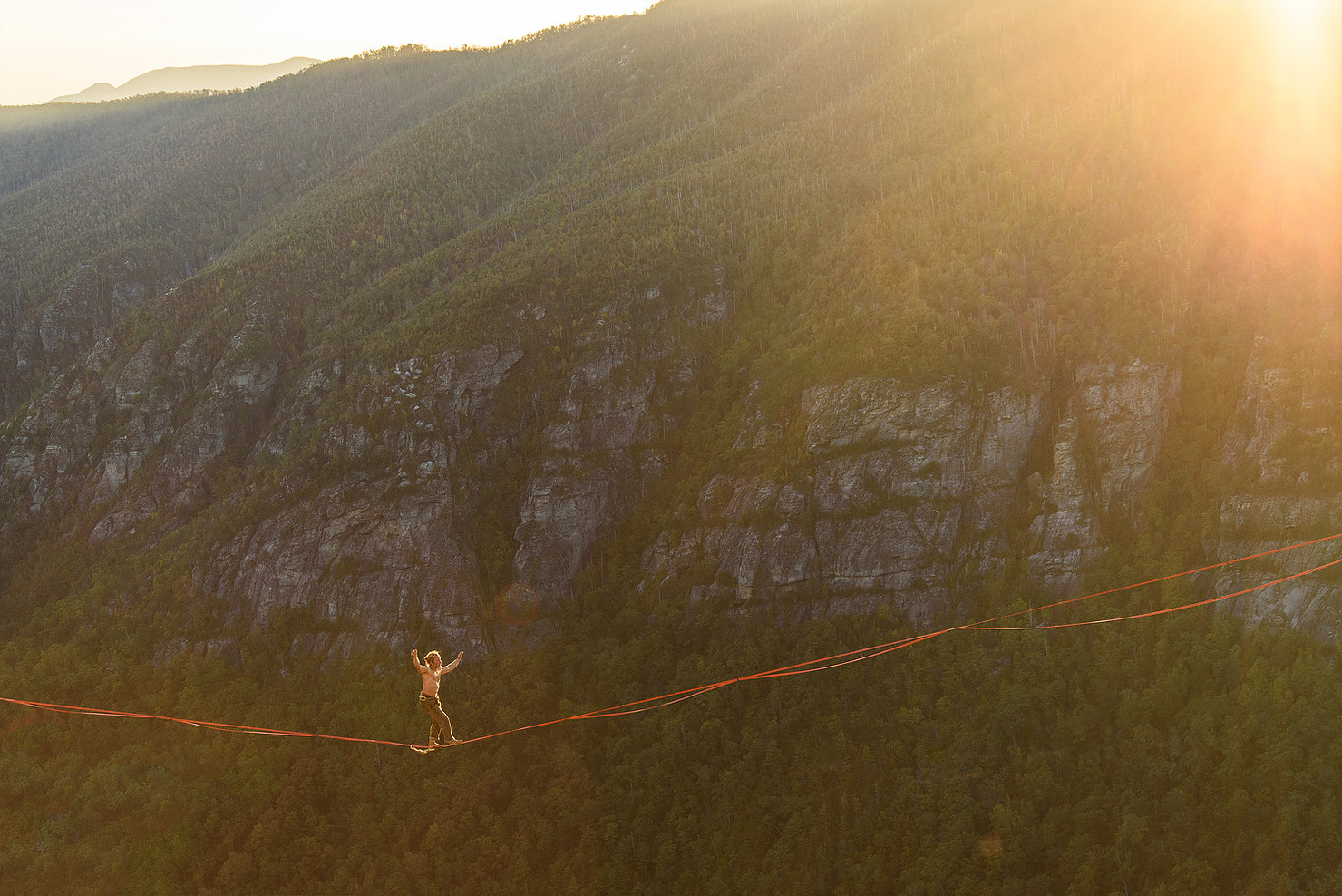 Dave Humphrey walking across Linville Gorgeous high above the valley floor.