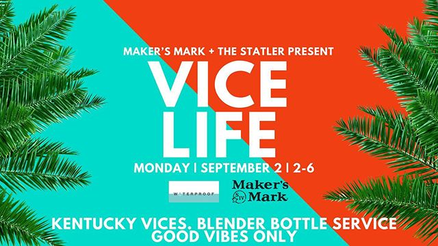 Celebrate Labor Day weekend  on top of the world with @makersmark and our Vice Life party! 🌇 🥃  For reservations and bottle service please email hello@waterproofdallas.com . . . . . . . . #yachtclub #rooftop #seeandbeseen #underthestars #poolside  #alcohol #cocktails #drinkingtime #downtowndallas #dallas #makersmark #lifestyle #bikini #sunny #tan #sunkissed #friends #happiness #labordayweekend #statlerdallas #dallasevents  #summer #bubblebar  #poolparty #laborday2019