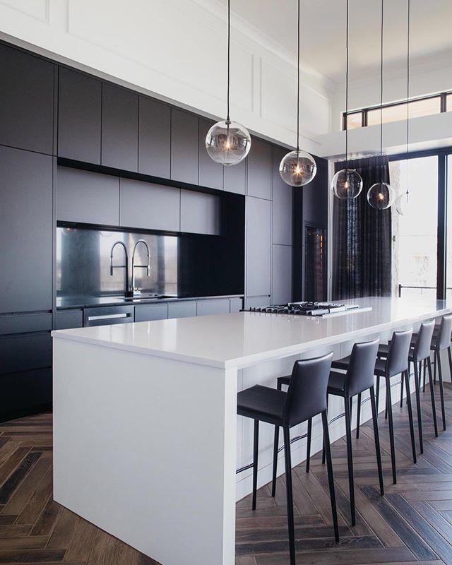 Modern | Clean | Simple 🖤 . . #moderndesign #modernhomes #kitchen #kitchensofinstagram #interiordesign #newconstruction #kitchendesign #tile #luxuryhomes #homedesign #instahome #interiorinspiration #luxurylifestyle #aiomaha #kitcheninspo #homeinterior #dacor #winewednesday  #axor #kitchengoals