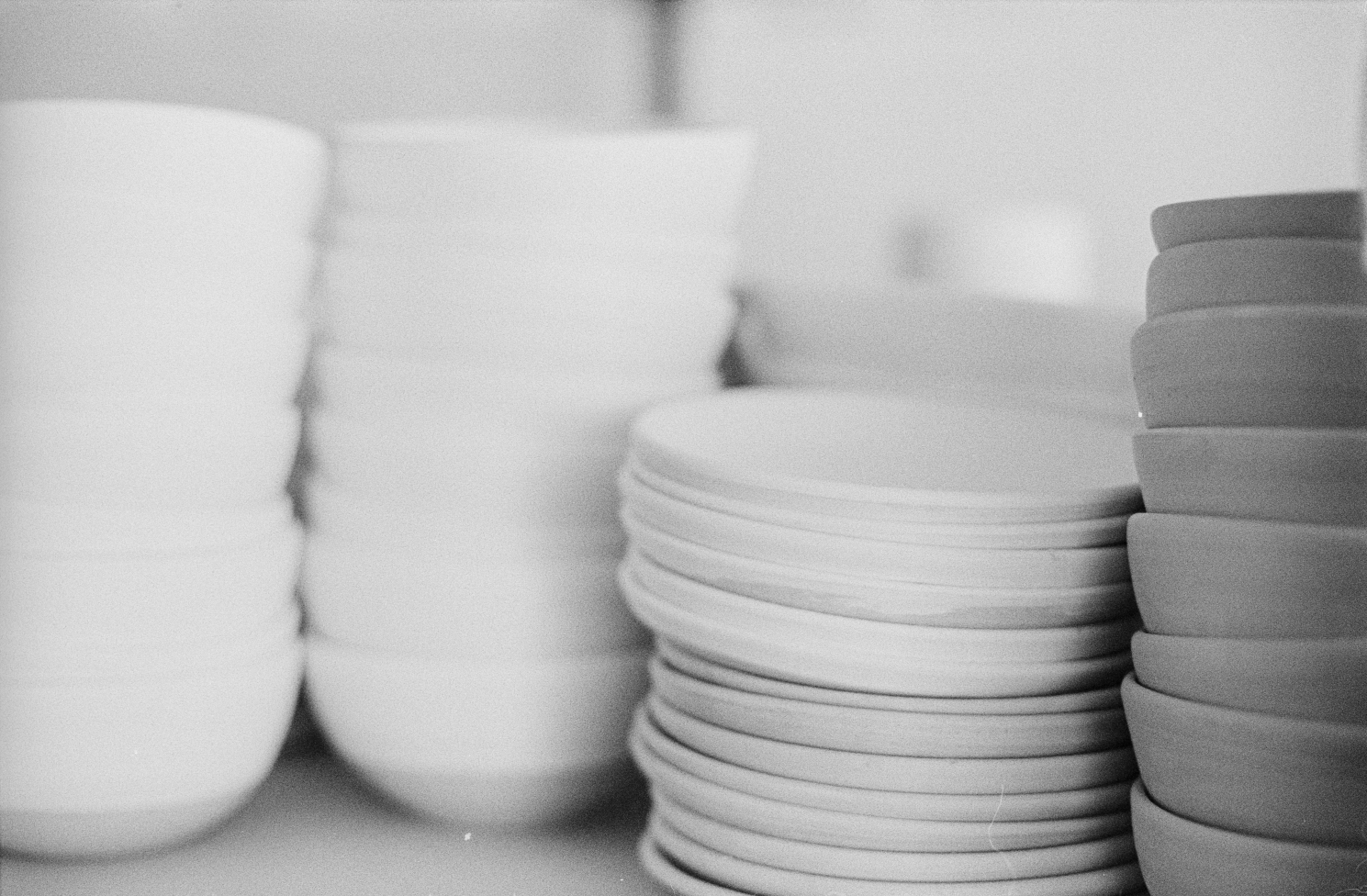Bowls and Plates ready for the kiln