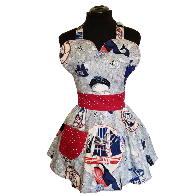 1950/'s Half Apron Printed Bird on Grape Vine Vintage Child/'s Apron Front Pockets Girl/'s Apron Whte with Red Piping