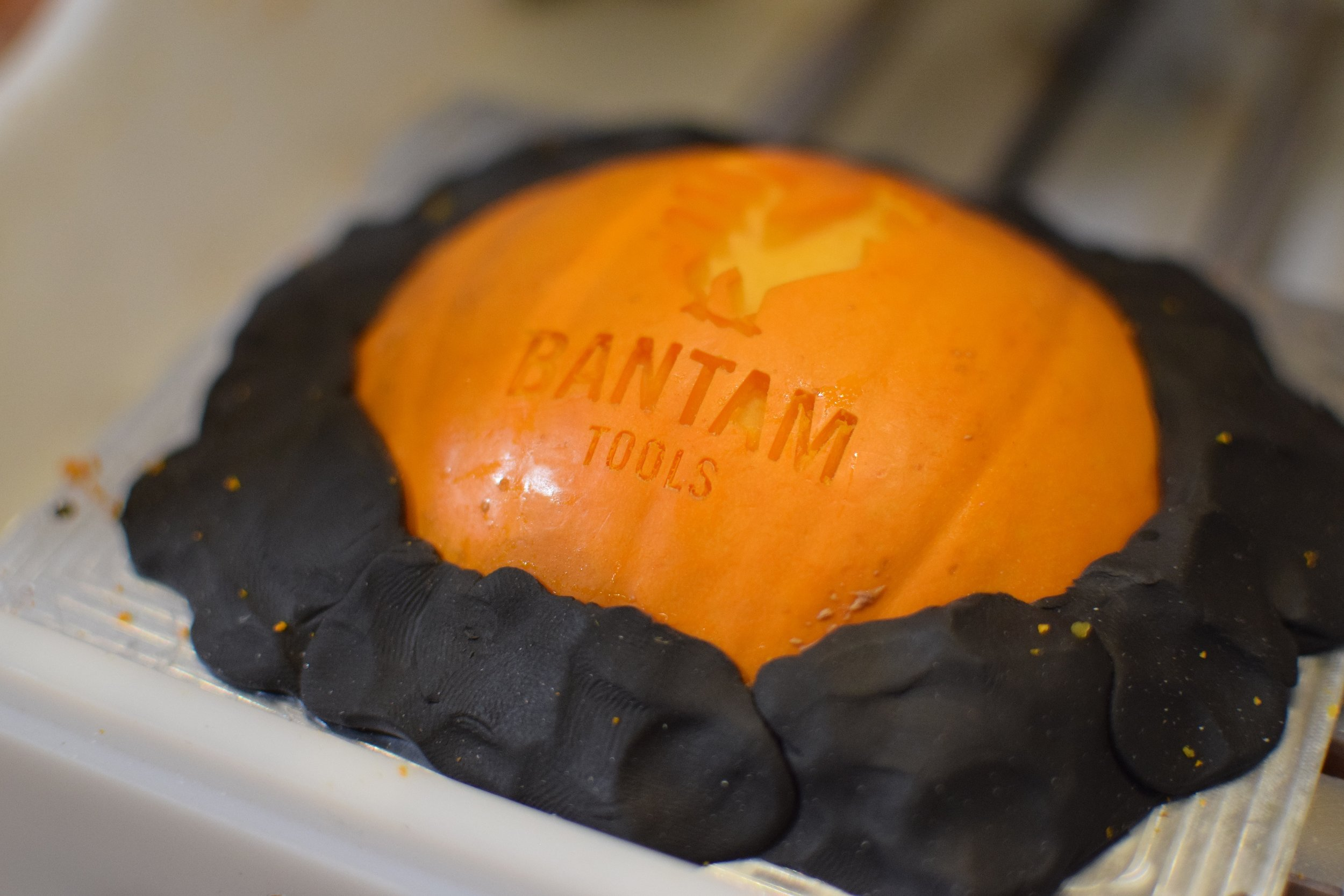 Bantam Tools logo milled into a pumpkin!