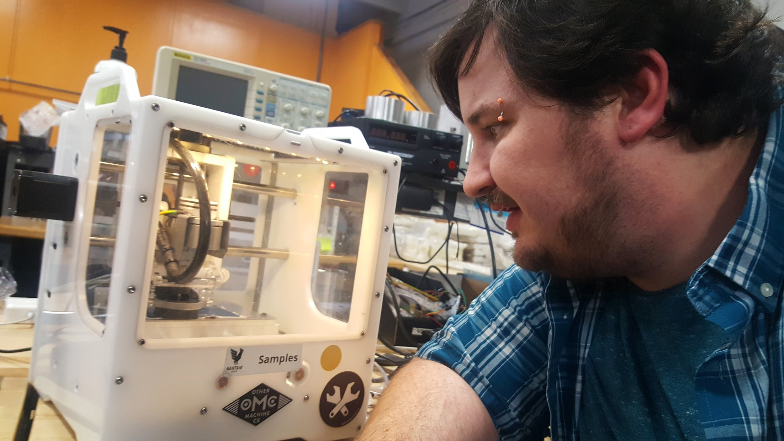 Devin with the Bantam Tools Desktop PCB Milling Machine.