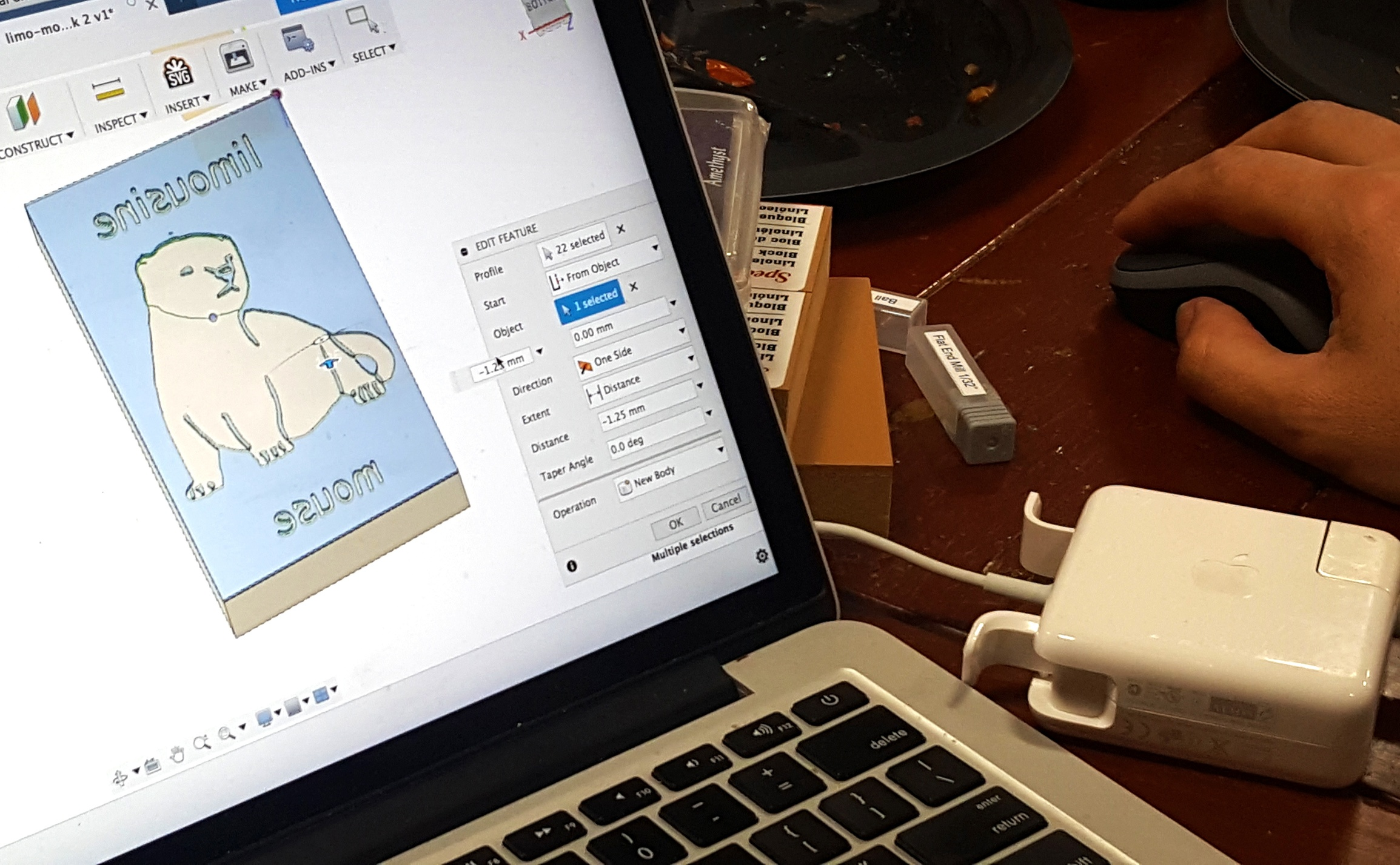 Kim D.'s limousine mouse stamp in Fusion 360.