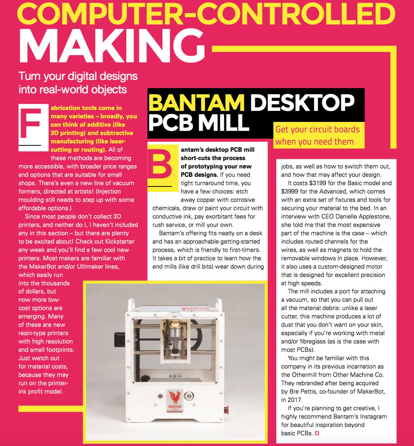 Bantam Tools Desktop PCB Milling Machine in HackerSpace Magazine.