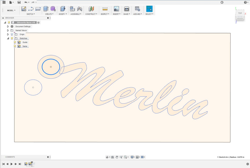 Merlin name cutout in Fusion 360.