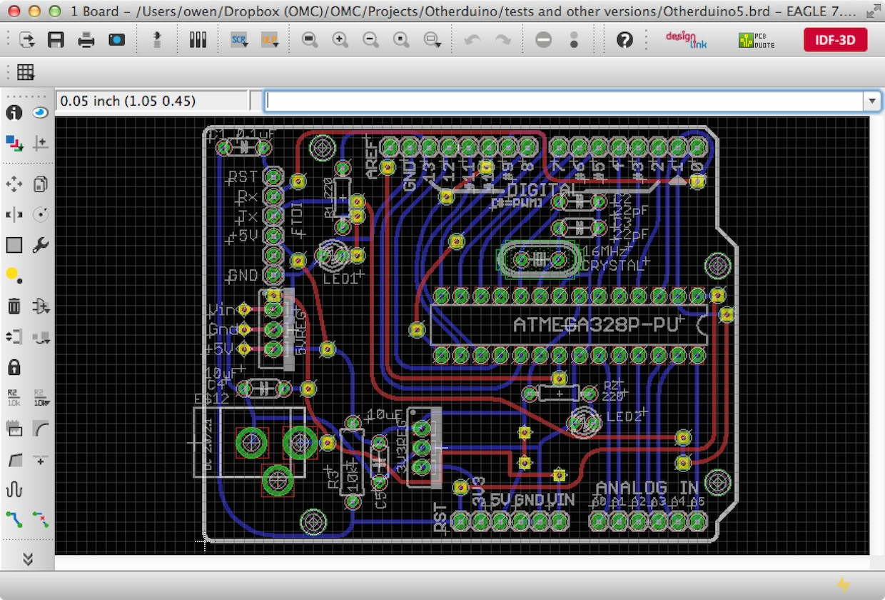 A board layout in EAGLE from our    Otherduino project   .