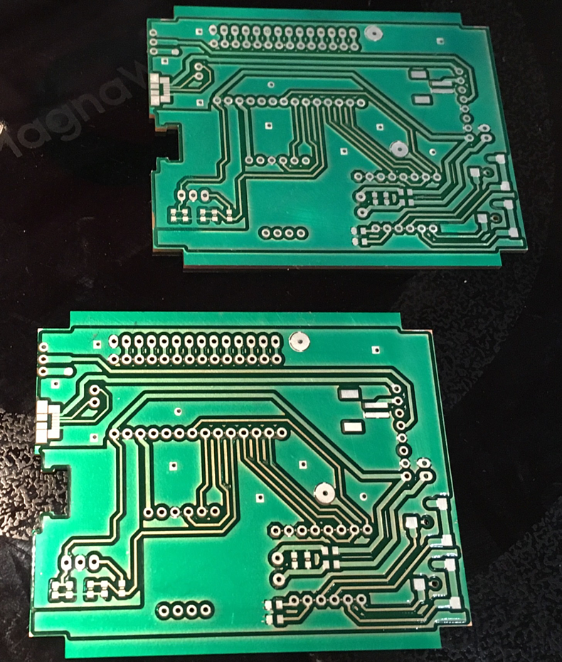Two PCBs fresh off the Bantam Tools Desktop PCB Milling Machine