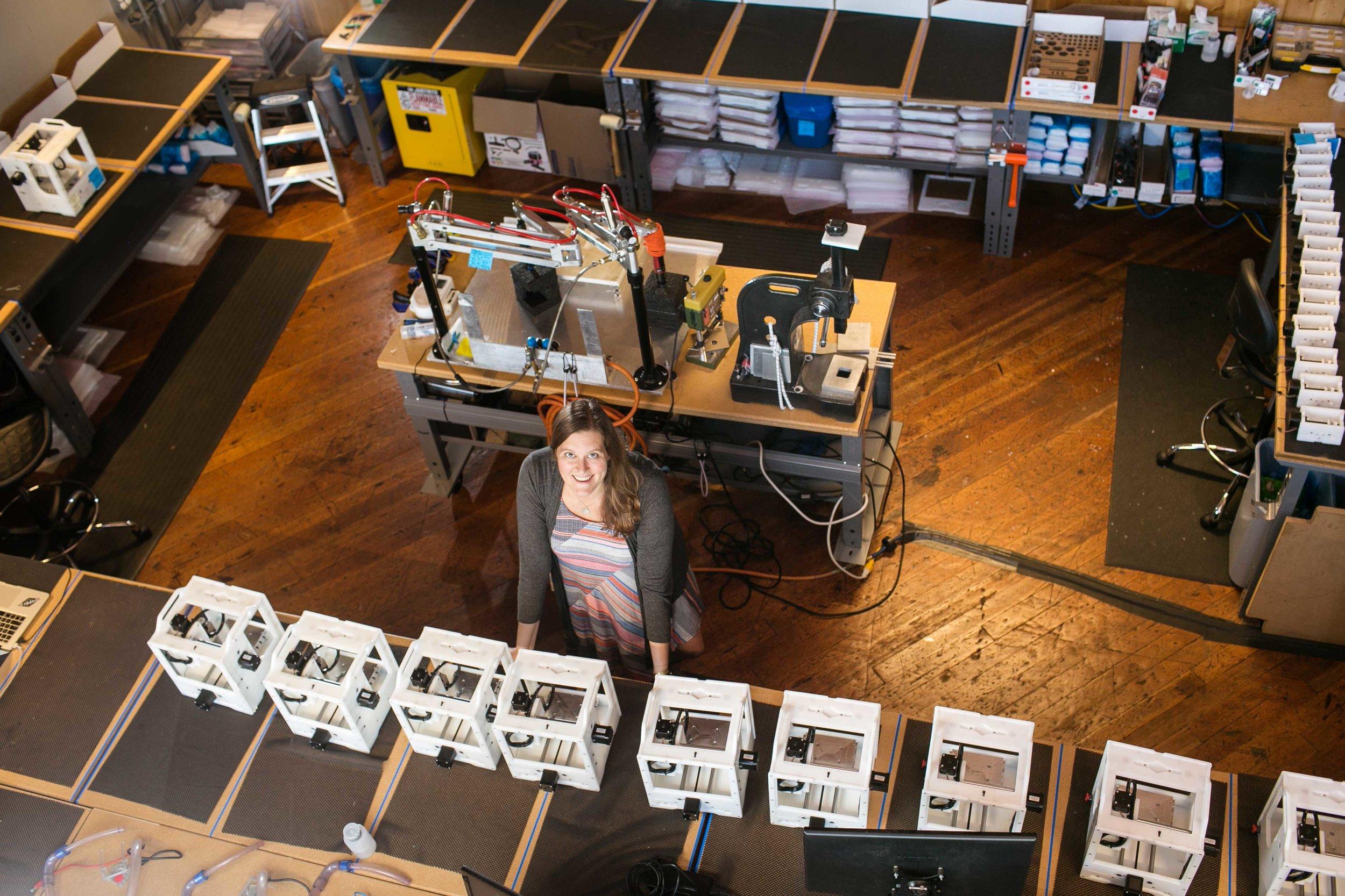 Danielle Applestone in factory