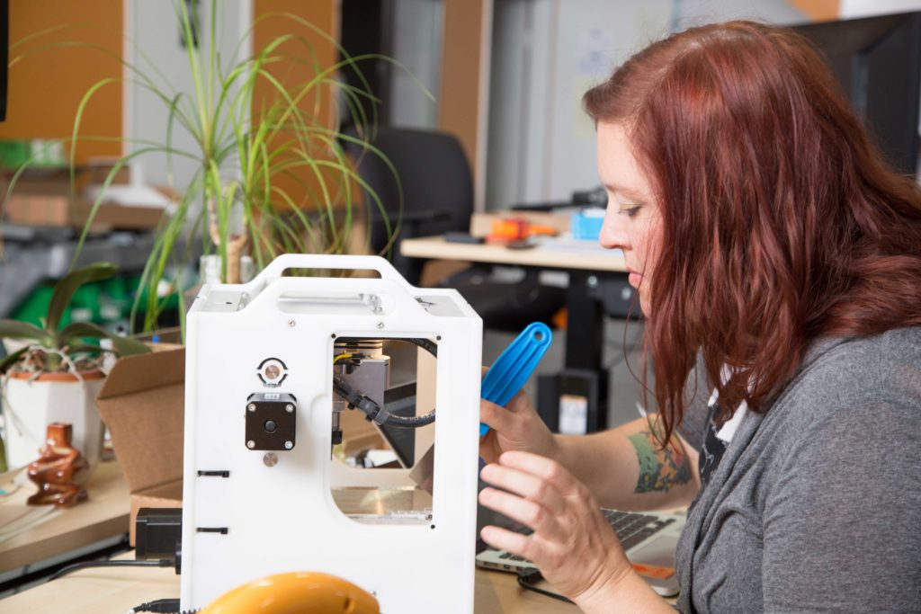 Danielle Applestone with Othermill - now called the Bantam Tools Desktop PCB Milling Machine