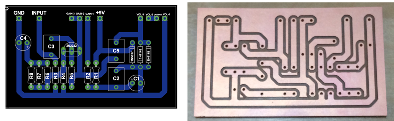 PCB in EAGLE and then freshly milled on the Bantam Tools Desktop PCB Milling Machine