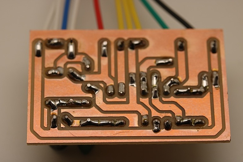 Wired and soldered PCB