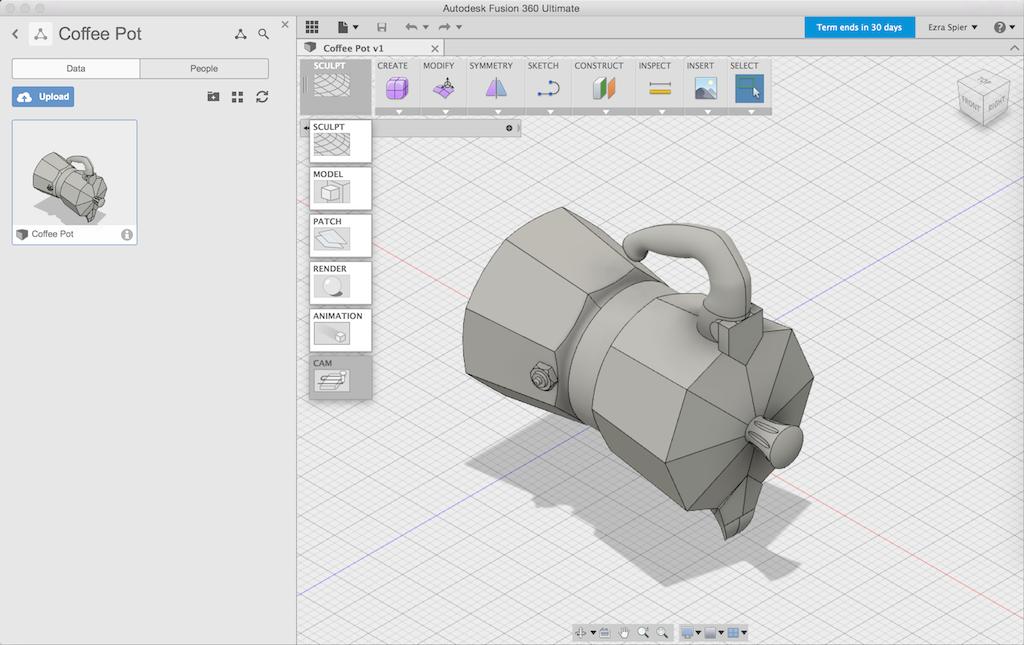 Coffee pot design in Fusion 360