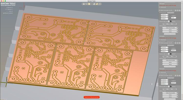 PCB in Bantam Tools Desktop Milling Machine Software.