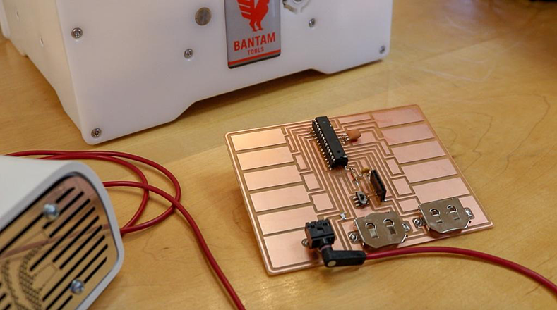Capacitive Synth project milled on the Bantam Tools Desktop PCB Milling Machine