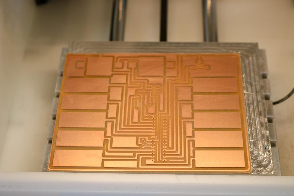 PCB being milled on the Bantam Tools Desktop PCB Milling Machine