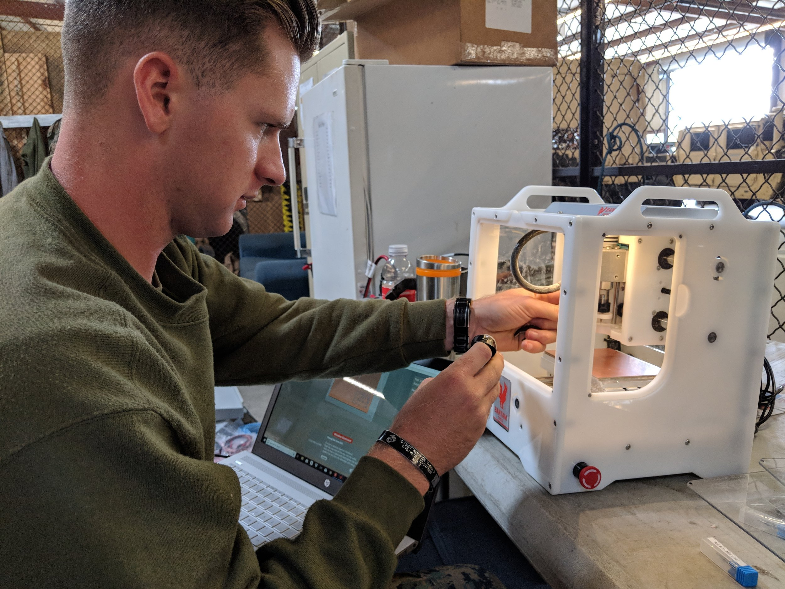 Marine using the Bantam Tools Desktop PCB Milling Machine.