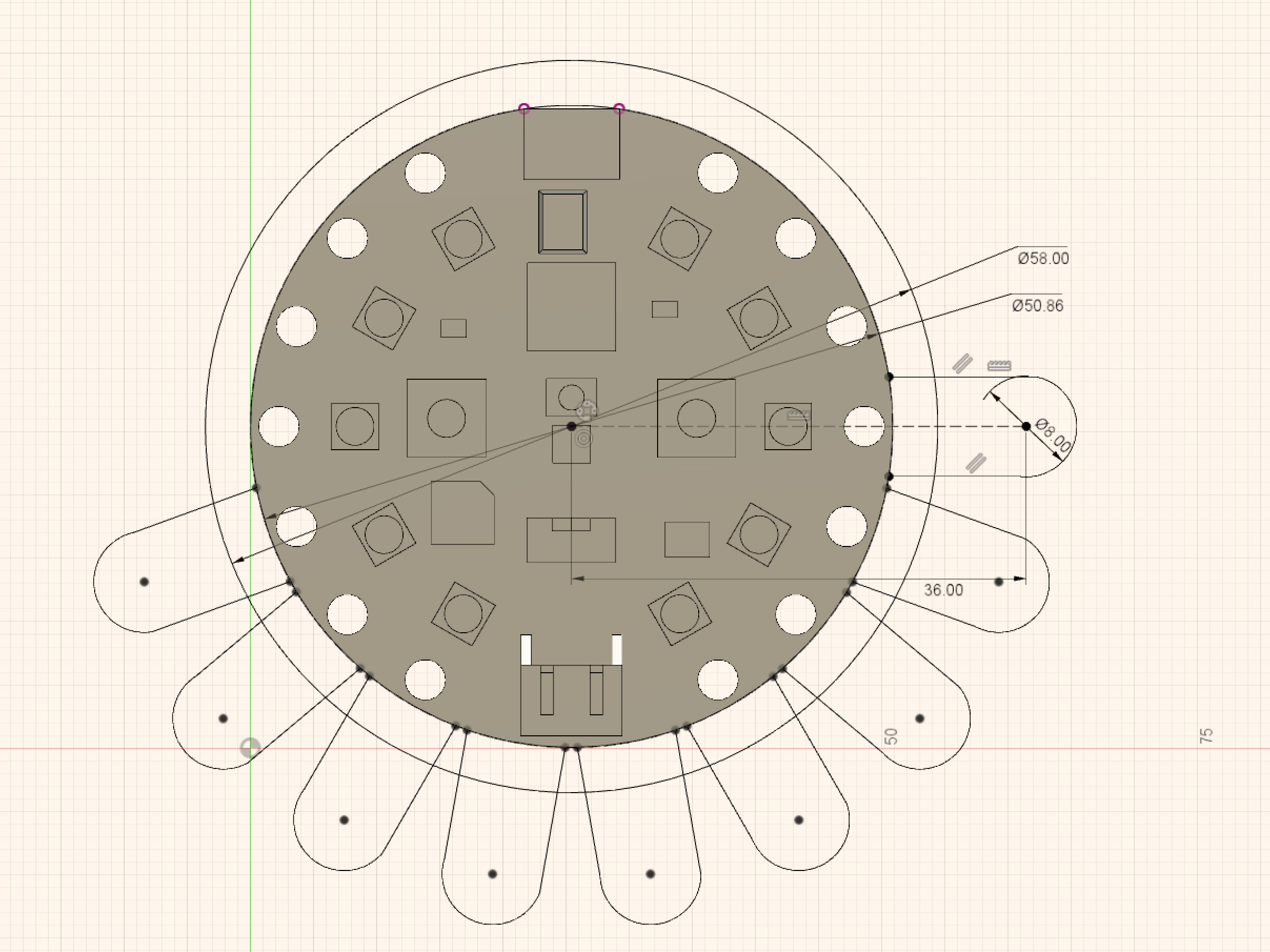 The outline of the custom PCB is designed in Fusion 360 using the spline tool.