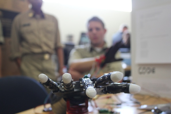 Robotic hand made using the Bantam Tools Desktop PCB Milling Machine