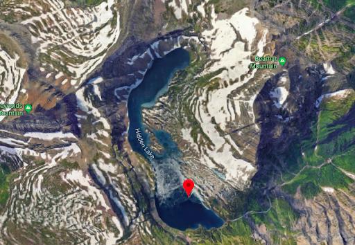 Google Maps image of Hidden Lake in Glacier National Park
