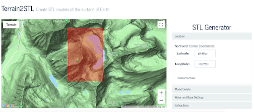 Inputting coordinates into Terrain2STL from Google Maps